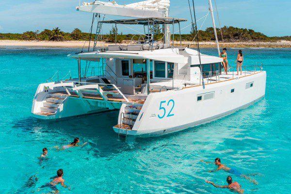 Lagoon 52f at anchor