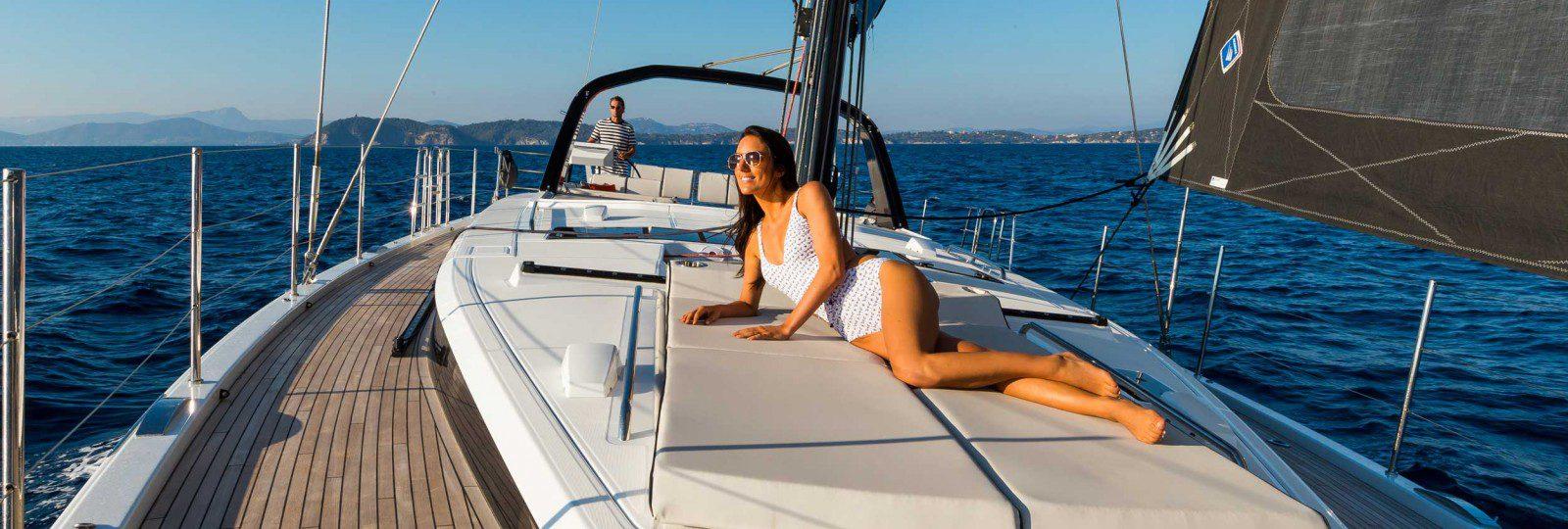 Oceanis Yacht 62 bow sun bed